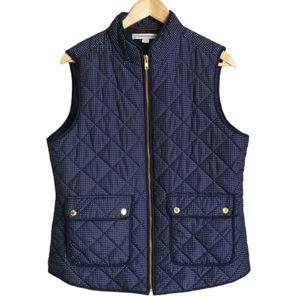 CATHERINE MALANDRINO Navy & White Dots Puffer Vest